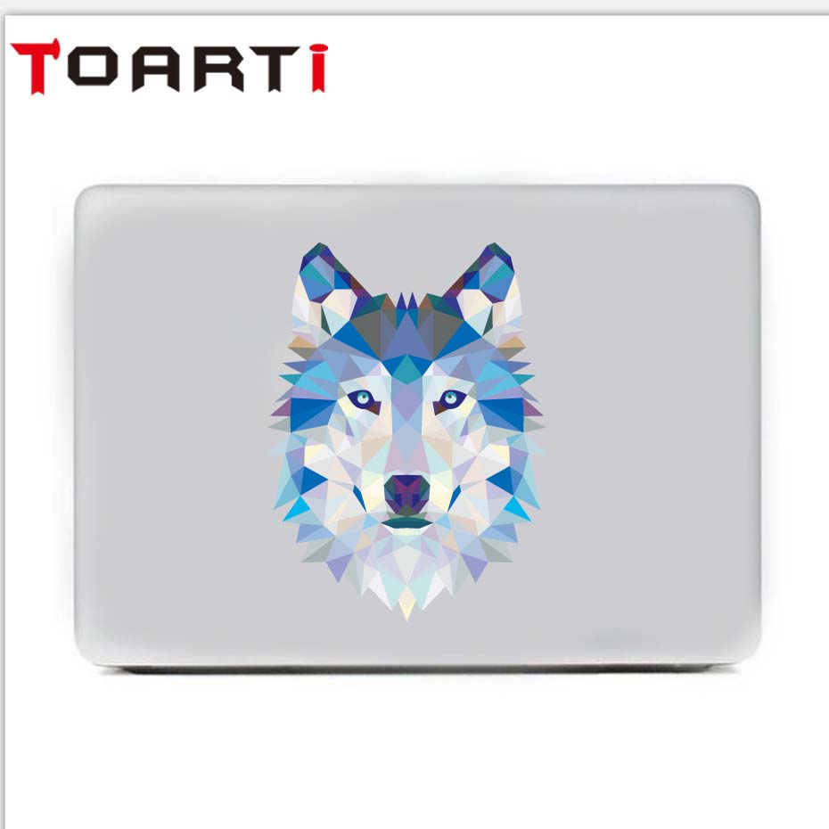 3D Wolf Head Laptop Decals Removable Vinyl Art Wall Stickers Diy Animal Wallpaper For Computer Refrigerator Home Decoration
