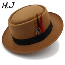 f4fb543b81cce Vintage Women Men Pork Pie Hat Dad Wool Flat Fedora Hat For Gentleman  Gambler Panama Trilby Hat With Fashion Feather Size 58CM