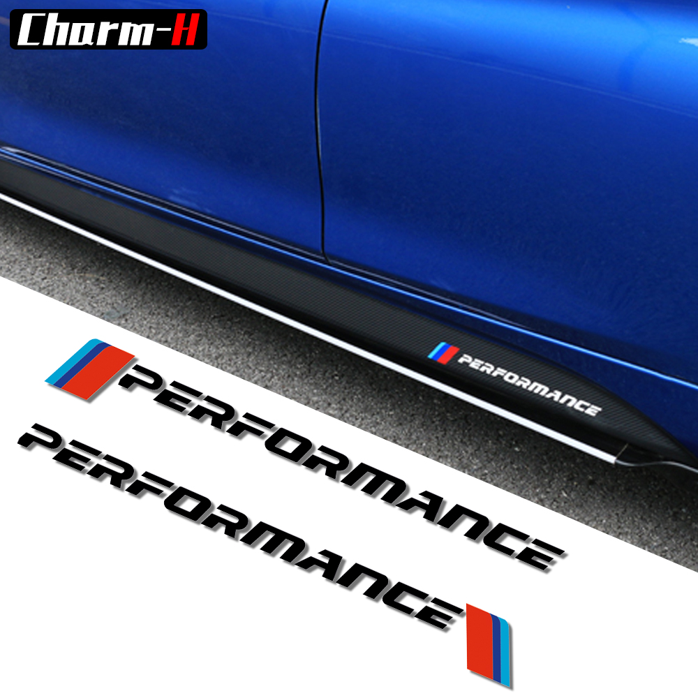 2pcs New M Performance Logo Side Skirt Stickers Decal Graphic for BMW e46 e39 e60 e90 e36 f30 f10 X5 e53 e70 e34 e30 f20 f15 g30