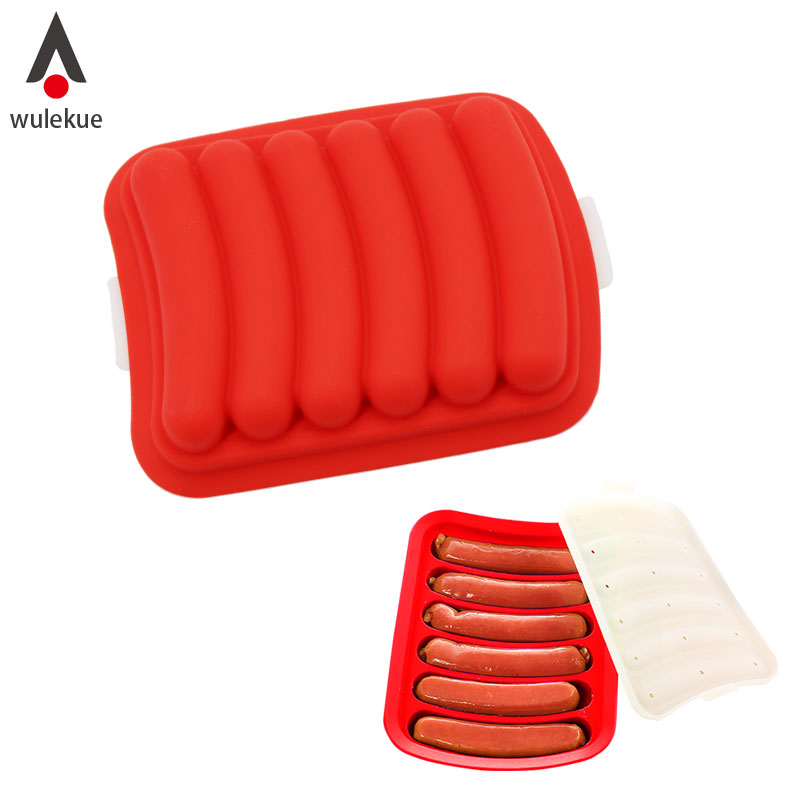 Wulekue Home DIY 6 Lattice Silicone Hot Dog Baking Mould Sausage Mold Tray With Cover for Microwave Oven