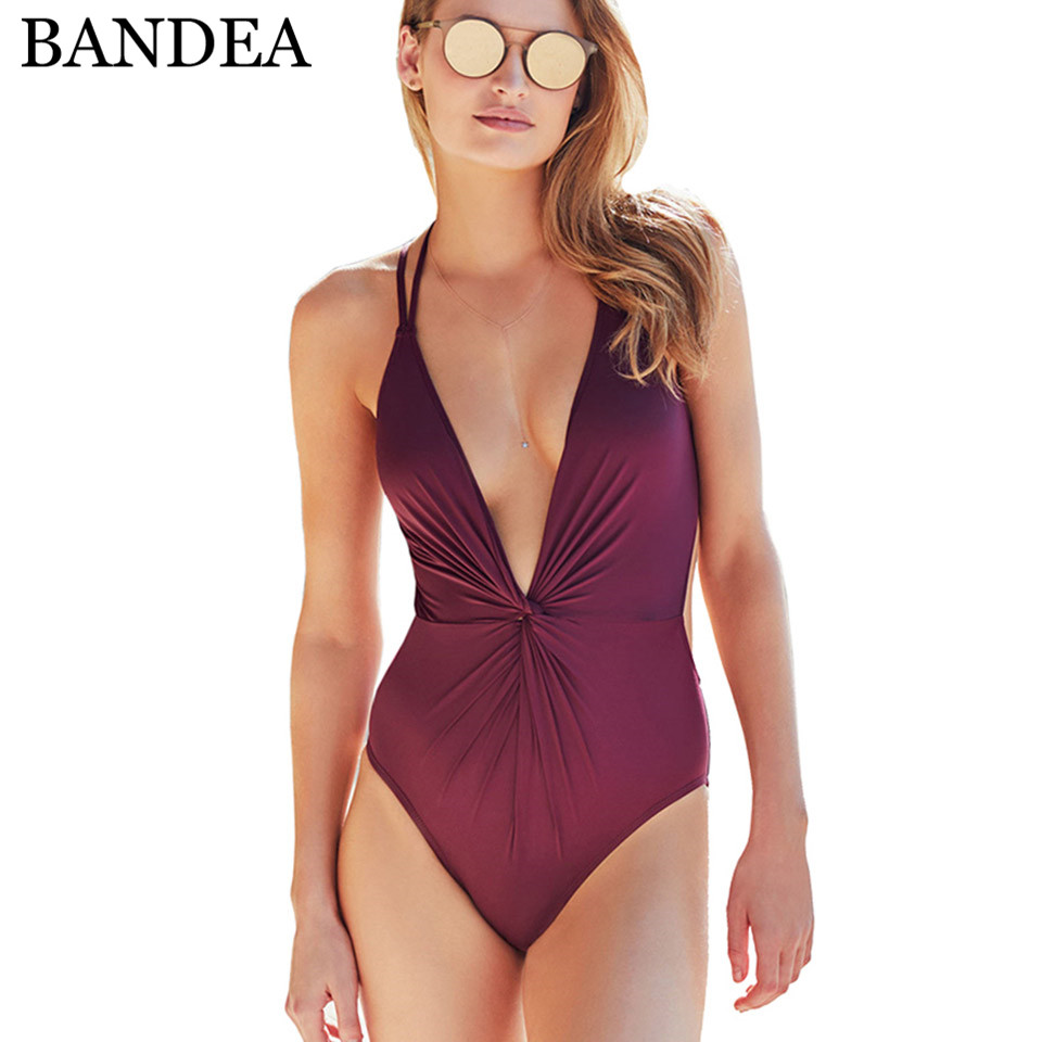 BANDEA 2018 sexy one piece swimsuit women retro solid swimwear halter swimming suit high cut bathing suit monokini sweet spaghetti strap solid color two piece swimsuit for women