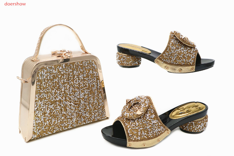 doershow Italian nice Matching Shoe and Bag Set African Shoes and Matching Bags Italian High Quality Nigerian Party TN1-17 doershow italian shoe with matching bag silver african shoe and bag set new design matching shoes and bags for party bch1 6