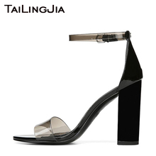 Clear Transparent PVC High Heel Women Sandals Woman Shoes Open Toe Sexy Buckle Brand Ladies Block Chunky Handmade Plus Size 2019 chic woman chunky heel platform sandals sexy ankle stra buckle open toe glittery sequin decorated sandals block heel dress shoe