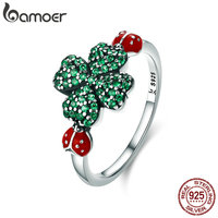 BAMOER 100 Authentic 925 Sterling Silver Ladybug Clover Flower Green CZ Crystal Ring For Women Sterling