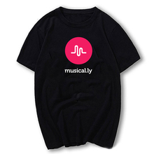 New Arrival Logo Musical.ly T-shirts Tops for women Letter Print black Women's summer Cotton trendy T-shirts Tee shirt femme2017