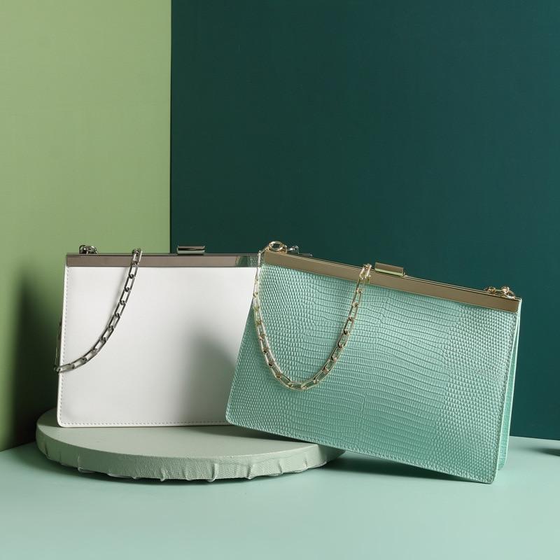 Luksusowe marki torebka kobiety wysokiej jakości prawdziwej skóry torba na ramię łańcucha torba wieczór Clutch Bag 2019 w Torebki na ramię od Bagaże i torby na  Grupa 3