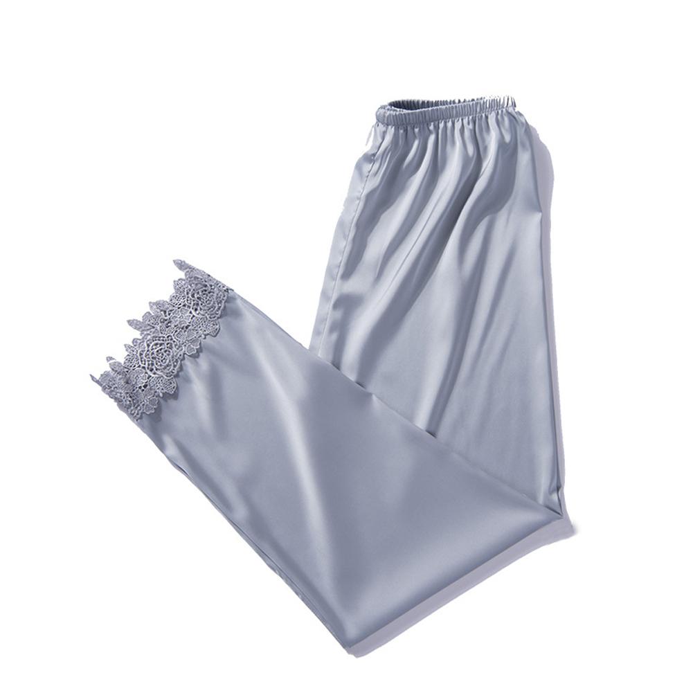 Autumn Soft Women\\\'S Sexy Silk Print Pajamas Casual High Waist Loose Sleep Pants
