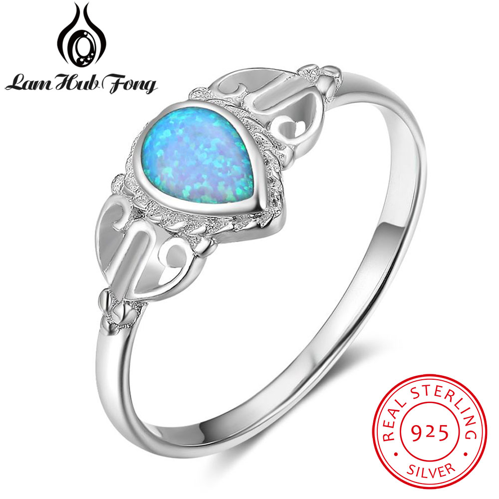 Beliebte Marke Trendy 925 Sterling Silber Wassertropfen Form Blau Opal Ring Marke Partei Schmuck Geschenke Für Frauen Damen (lam Hub Fong)