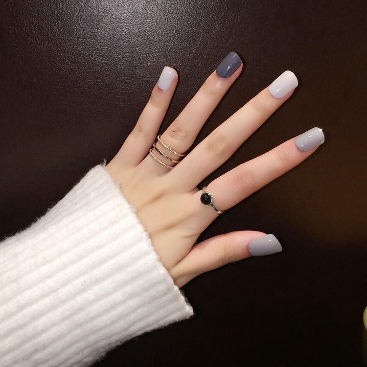 spesso Nail Art Tips 24 Pz Deep & Luce Nonna Grigio Falsi Chiodi Eleganti  MX55