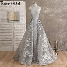 Кружевное серое Длинное Элегантное Вечернее Платье, вечерние платья для женщин, вечерние платья с высоким воротником, вечернее платье