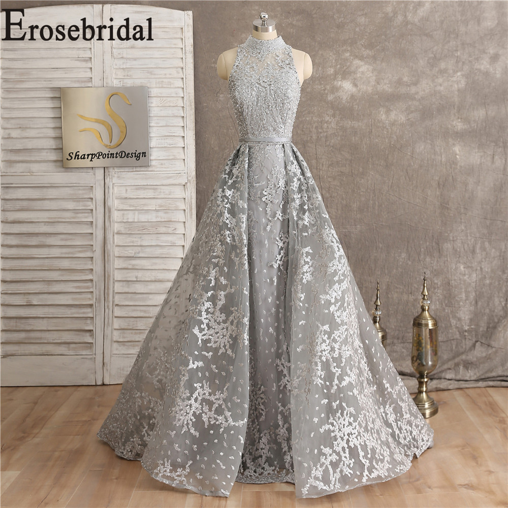 Lace Grey Long Elegant Evening Dress Party Occasion Dresses For Women 2019 High Collar Formal Dresses Evening Gown