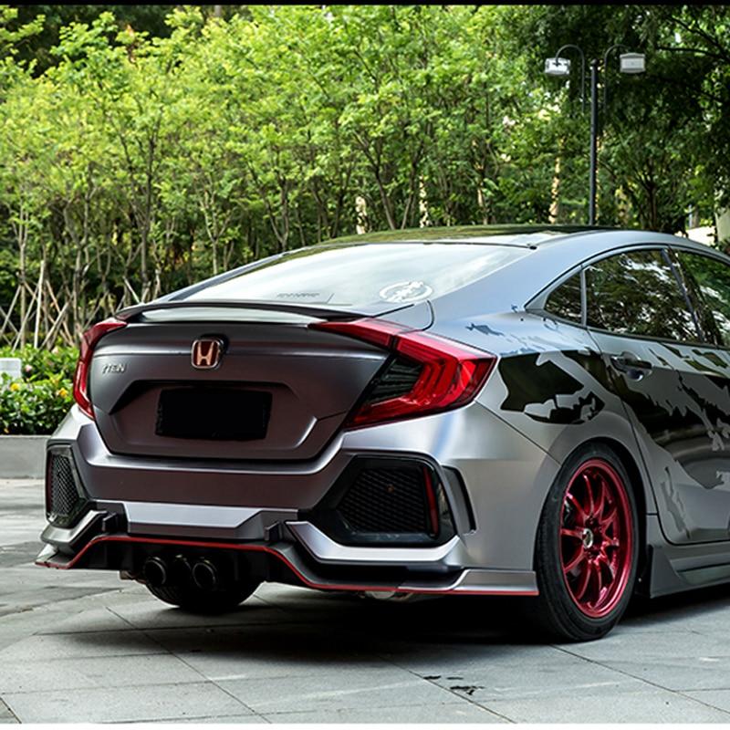 สำหรับ Honda Civic 10th Sedan 2016 2017 รถตกแต่งพลาสติก ABS สีภาพวาดสีสปอยเลอร์ด้านหลัง