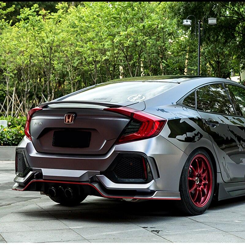 Per Honda Civic 10th Sedan 2016 2017 Auto Decorazione ABS di Plastica Pittura della Vernice di Colore Posteriore del Tronco Spoiler