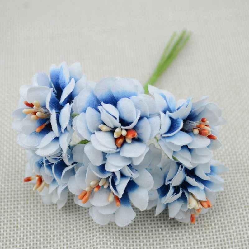 6 Buah Bunga Palsu Sutra Gradien Benang Sari Handmake Buatan Bunga Buket Pernikahan Dekorasi DIY Wreath Hadiah Kerajinan Buku Tempel