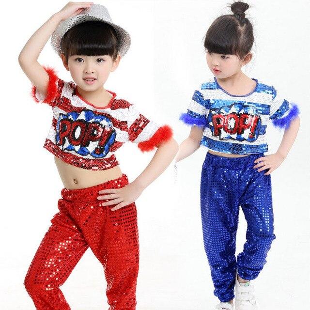 Niñas de Lentejuelas de Baile Moderno Jazz Hip Hop Danza Traje Competencia  Set Camiseta Tops Pantalones d7e10d0174a