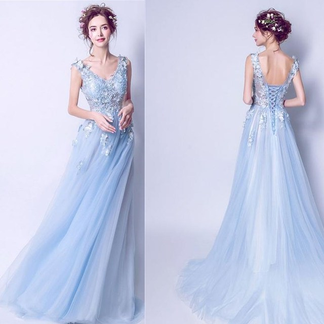 ruthshen Sexy Prom Dresses 2018 New V-Neck Embroidery Butterfly Long Evening Gowns See Through Light Blue Formal Dress 2