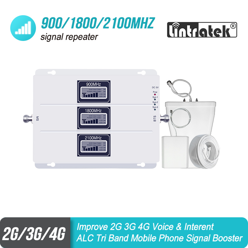ALC Cellular Signal Booster Tri Band GSM Signal Repeater 65dB Gain 3g LTE 900 1800 2100 Handy 4g Verstärker Repetidor SetS38