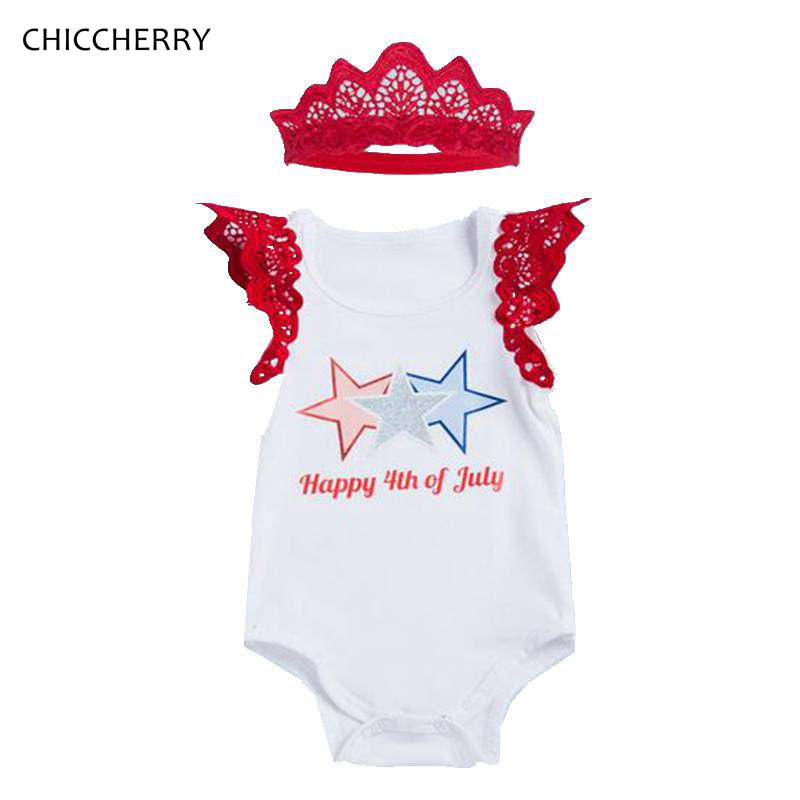 Happy 4Th Of July Outfit Short Sleeve Bebe Bodysuit Headband Two Piece Set Newborn Baby Girl Summer Clothes Infant Clothing
