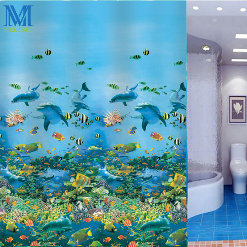 Sea Life Dolphin Waterproof Shower Curtain Bathroom Products Classical  Mildewproof PEVA Bath Curtain(China (