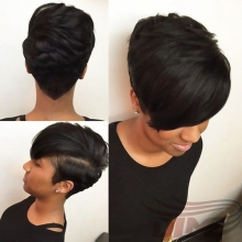 Short Bob Hair For Black Women Cheap Natural Black Straight Hair 27 Pieces Hair Extension Charming