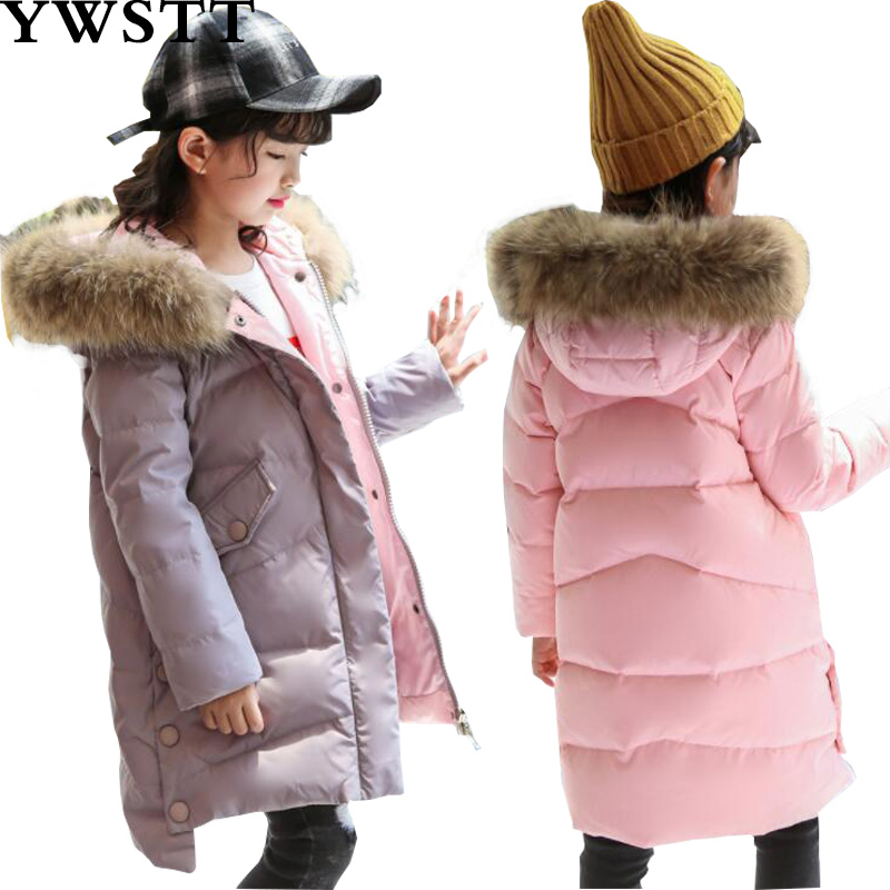 -30 Degrees Girls Winter Russia Thickening Warm Down Jackets Coats Children Long Section Knees Fur Collar Hooded Jacket Girls Do 2017 summer newest hot sexy women narrow band high boots cut outs gladiator over the knee booty club boots women shoes