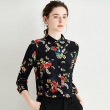 100% Silk Blouse Women Shirt Printed Turn-down Collar Long Sleeves Simple Design Casual Top Vintage Style New Fashion 2019 simple design shirt collar long sleeves high low letter printed shirt for women