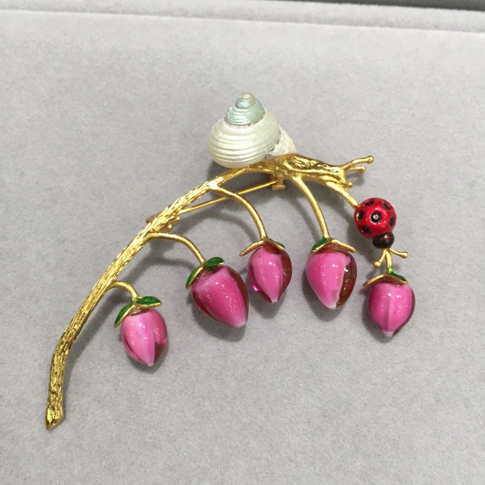 coloured glaze flower brooch pins snail on a branch fashion women jewelry free shipping rose red color coloured glaze flower brooch pins snail on a branch fashion women jewelry free shipping rose red color