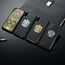 Luxury Phone Case for iPhone X XR 8 7 6S Plus Glossy Carbon Fiber Gilding TPU Protector Armor Coque XS Max Shell