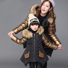 2016 Mère et Fille Correspondants Veste Tenues Filles Famille Vêtements D'hiver Manteau Filles Manches Longues Épaississent Outwear Vêtements
