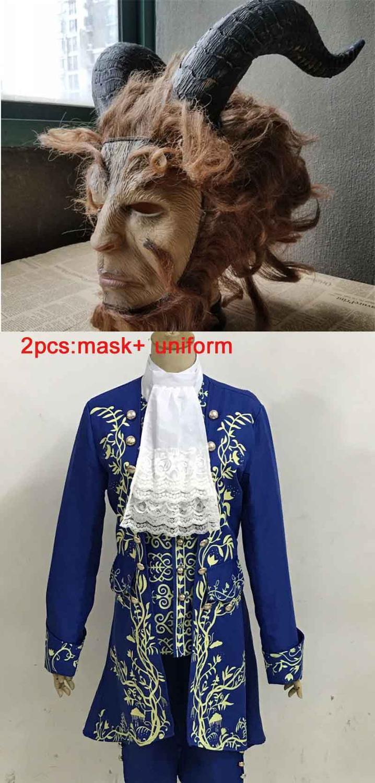 Маскарадные костюмы из фильма «Красавица и Чудовище» для взрослых, костюм Адама принца/маска для мужчин, платье принцессы Белль, карнавальные вечерние костюмы на Хэллоуин - Цвет: Uniform Add Mask