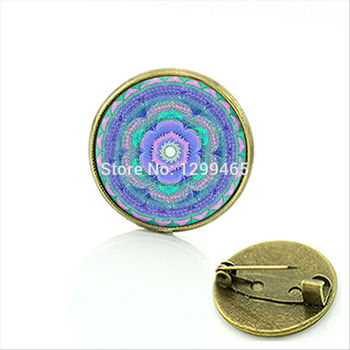 2015 New Fashion art picture brooch spiritual glass Mandala flower jewelry zen yoga tron pins leisure series essential C 295 image