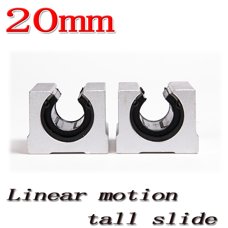 2pcs/lot SBR20UU SBR20 Linear Bearing 20mm Open Linear Bearing Slide block 20mm CNC parts linear slide Free Shipping
