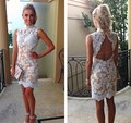 MGS New Charming High Neck Backless Sleeveless Cocktail Dresses 2016 Mini Lace Prom Gowns Vestido De Festa Curto