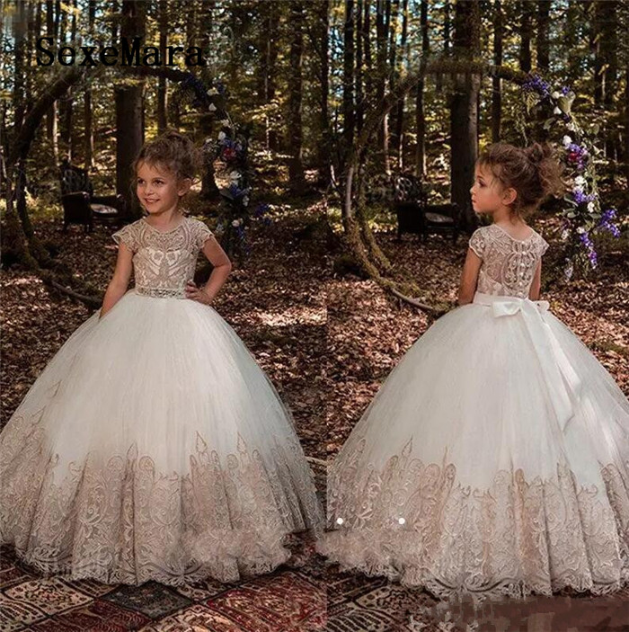 2018 Princess Ball Gown Flower Girls Dresses For Weddings Crystal Sash Baby Girl Birthday Party Gowns Kids First Communion Dress kids girls flower dress baby girl butterfly birthday party dresses children fancy princess ball gown wedding clothes