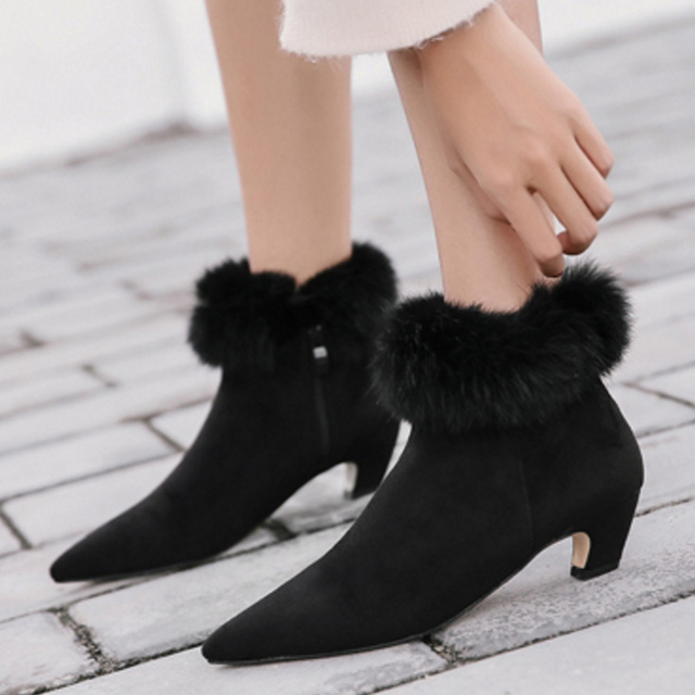 Aliexpress.com : Buy Boussac Faux Fur Women Boots Suede Leather ...