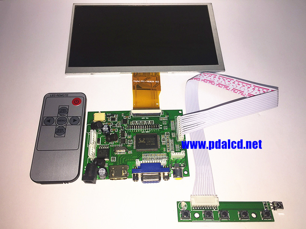 7 inch LCD Panel Digital LCD Screen and Drive Board(HDMI+VGA+2AV) for Raspberry PI Pcduino Cubieboard-(1024 x 600)Free shipping рюкзак городской dc bunker print blue iris ethnic pri