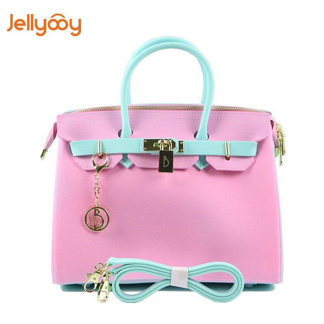 5331dbf51c Jellyooy Good Quality Zipper 30cm Large Size PVC Jelly Litchi grain handbags  women bag Girls Plastic Candy Color Tote Beach Bag