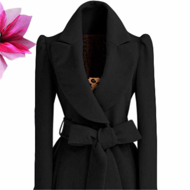 New Arrival 2018 Clothing Fashion Bodycon Sweet Bow Vintage Casual Coat Elegant Wool Long Streetwear Women Coat
