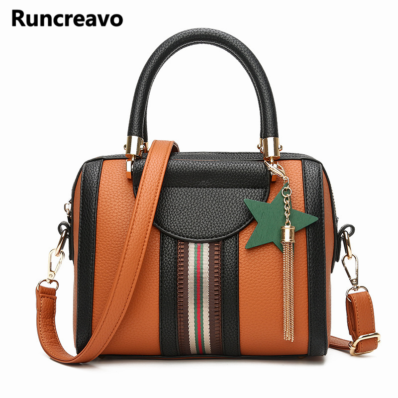 2018 Women pu leather handbags luxury female vintage Boston stripe crossbody tote bag bolsa ladies shoulder bags bolsa feminina