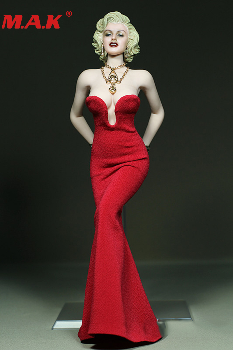 DIY 1:6 scale female girl young lady woman clothes Marilyn Monroe red dress version for 12