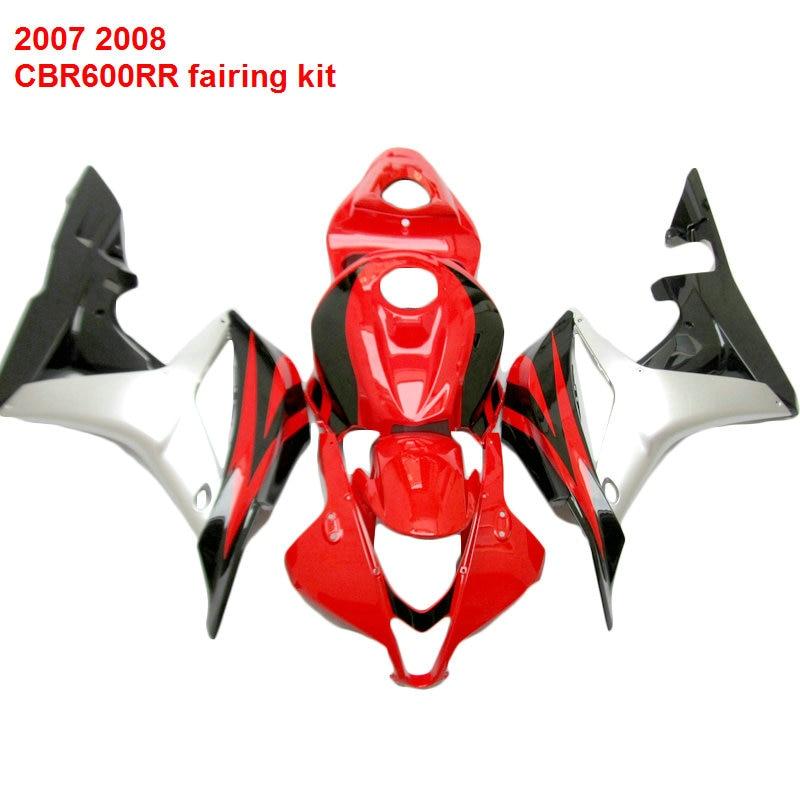 For HONDA CBR 600RR 07 08 ( Red silver )Injection fairings ABS fairing kit /x02 прокладки клапанной крышки honda vtr1000f