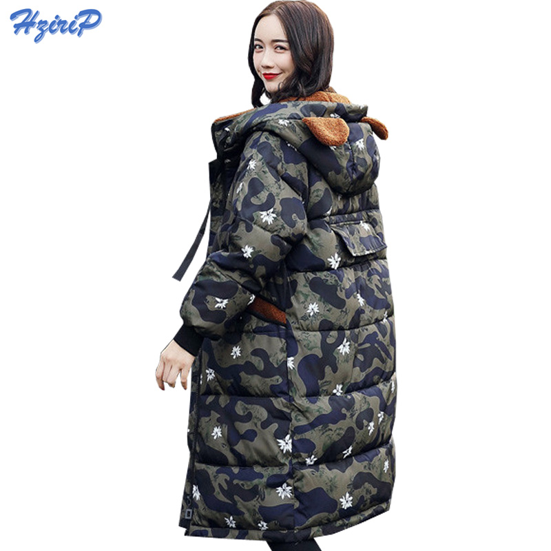 HziriP 2017 Women Winter Jackets And Coats Camouflage Cotton-padded Parkas Cartoon Hooded Warm Casual Overcoat Plus Size M-XXXL купить