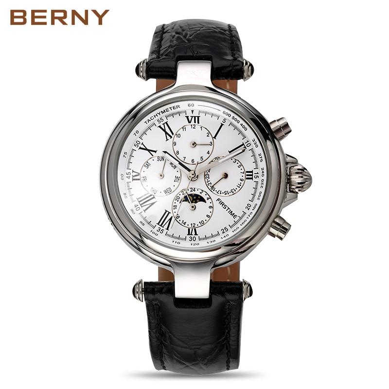 Célèbre marque en acier inoxydable montre de luxe hommes montre automatique montres mécaniques Phase de lune montres mécaniques cadeau de noël - 2