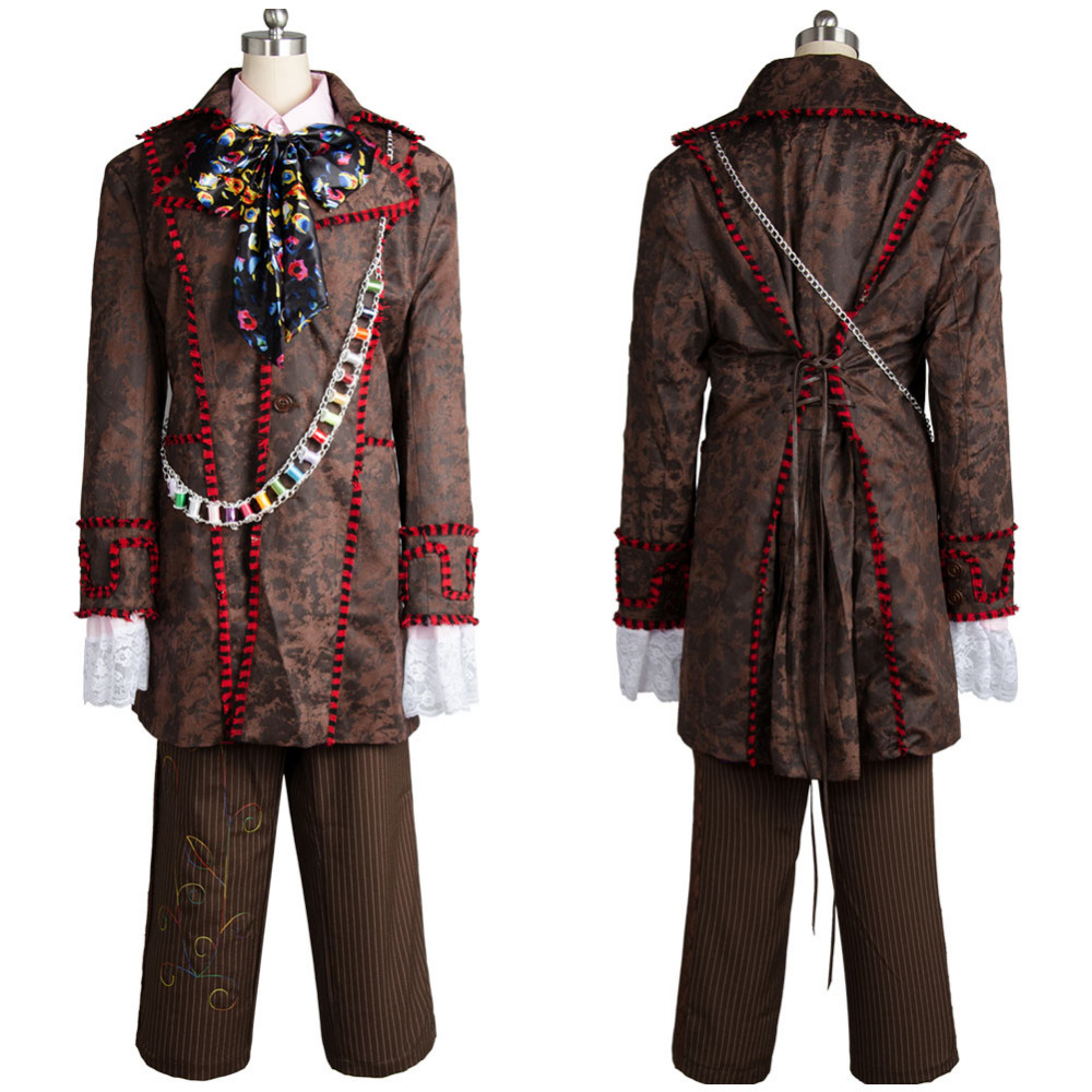 Johnny Depp Cosplay Mad Hatter Costume Adult Men Alice In Wonderland Costume Jacket ONLY Halloween Carnival Costumes Custom Made