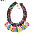 NEW  design  trendy Fashion boho bohemian maxi tassel chunky rope chain  bib moda collar pendant Necklace & pendant nickel free