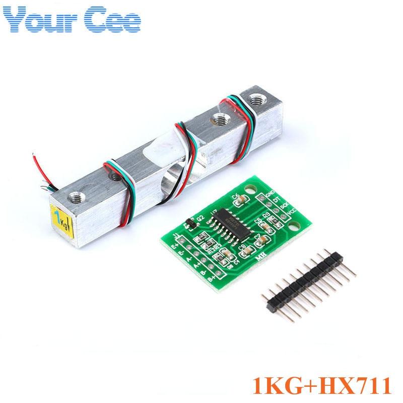 Тензодатчик 1 кг 5 кг 10 кг 20 кг HX711 AD модуль датчик веса электронные весы алюминиевый сплав взвешивания датчик давления - Цвет: 1KG and HX711