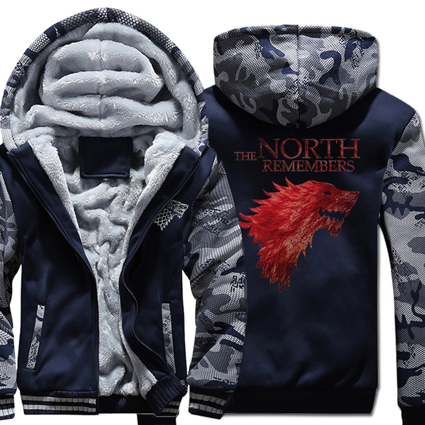 raglan 4 style coats sweatshirt jacket 2019 new Game of thrones hoodies wool liner warm tracksuit men Camouflage solid M-4XL top