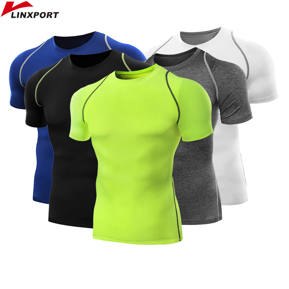 Running Base Layer Men Compression T-Shirt Tee Workout Tights Sports Top Fitness