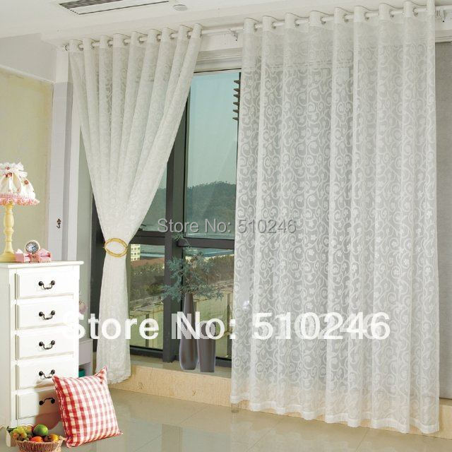Customized Modern Floral White Home Decoration Window Sheer Voile Day Rod Eyelet  Curtain(China (