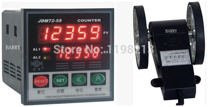 Wire length counter 5-digital length measurer wheel meter JDM72-5S + LK-90-1 digital couters lk 90s length counter meter digital length gauge wheel type length encoder with accuracy 0 1m